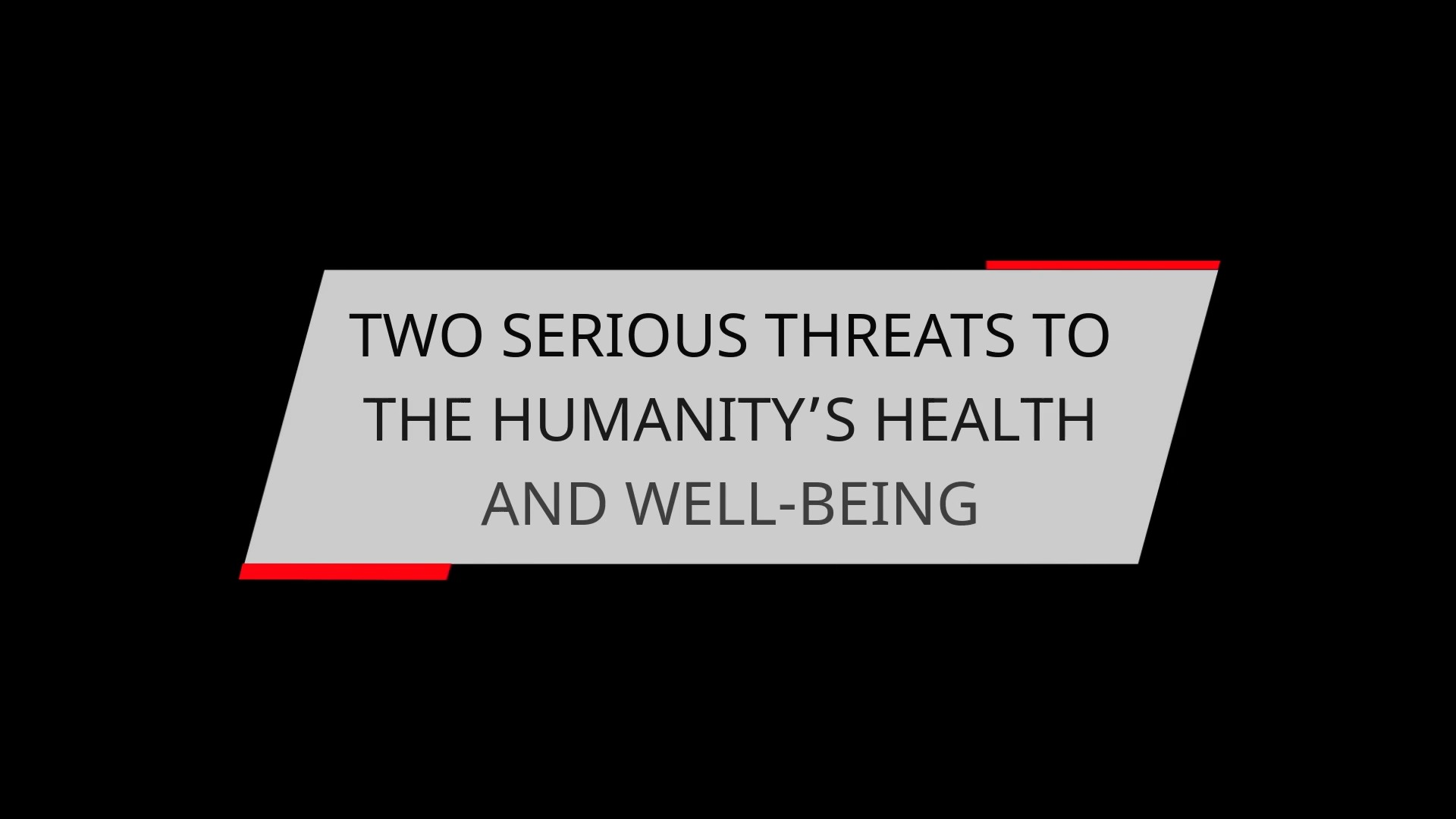 TWO SERIOUS THREATS TO THE HUMANITY'S HEALTH AND WELL-BEING